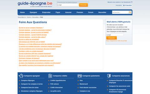 Screenshot of FAQ Page guide-epargne.be - Foire Aux Questions - Guide-Epargne.be - captured Dec. 26, 2016