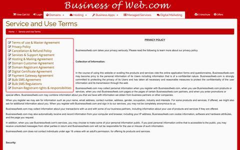 Screenshot of Privacy Page businessofweb.com - Premium Web Services | Buy website cloud hosting, digital marketing, payment gateway, web app software developer, register domain - Service and Use Terms       - BusinessOfWeb.com online shopping e-commerce India - captured Oct. 7, 2018