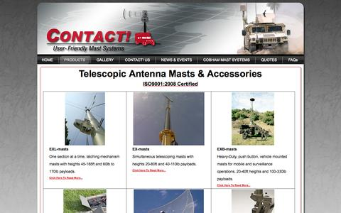 Screenshot of Products Page contactcorp.net - Telescoping Antenna Masts - Contact! Corporation - captured Oct. 7, 2014