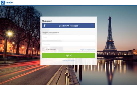 Screenshot of Login Page rumbo.com - Customer Information Area - captured June 15, 2017