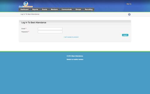 Screenshot of Login Page bestattendance.com - Best Attendance - captured Sept. 30, 2014