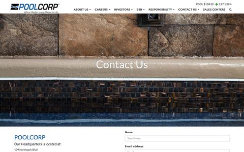 Screenshot of Contact Page poolcorp.com - POOLCORP Contact Us | Get All SwimmingPool Services - captured July 14, 2018