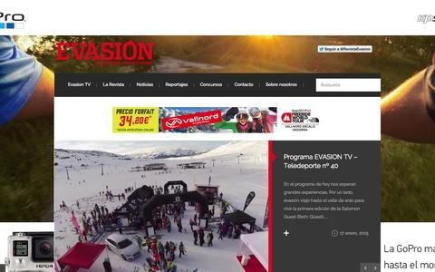 Screenshot of Home Page revistaevasion.com - Revista Evasión | Viajes, escapadas y material outdoor - captured Jan. 23, 2015