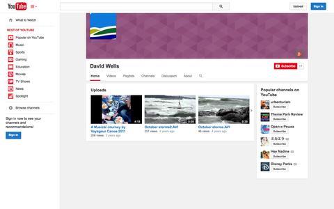 Screenshot of YouTube Page youtube.com - David Wells  - YouTube - captured Oct. 26, 2014