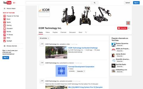 Screenshot of YouTube Page youtube.com - ICOR Technology Inc.  - YouTube - captured Oct. 23, 2014