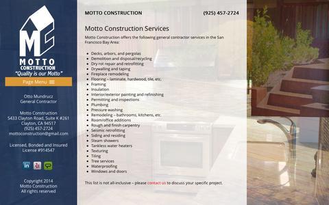 Screenshot of Services Page mottoconstruction.com captured Oct. 7, 2014