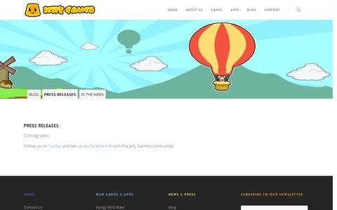Screenshot of Press Page jellygames.com - Press |  Jelly Games - captured Sept. 30, 2014