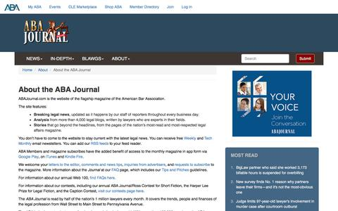 Screenshot of About Page abajournal.com - About the ABA Journal - ABA Journal - captured Jan. 17, 2020
