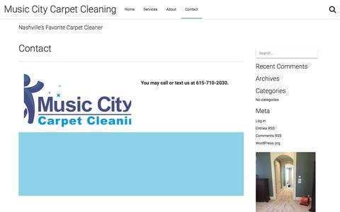 Screenshot of Contact Page musiccitycarpetcleaning.com - Contact – Music City Carpet Cleaning - captured May 31, 2018
