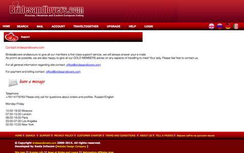 Screenshot of Support Page bridesandlovers.com - Please contact Bridesandlovers.com support - captured Sept. 12, 2014