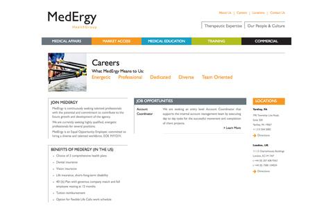 Screenshot of Jobs Page medergygroup.com - Careers | MedErgy HealthGroup Medical education and communications agency - captured Oct. 4, 2014