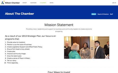 Screenshot of About Page killeenchamber.com - About The Greater Killeen Chamber of Commerce | Greater Killeen Chamber of Commerce - captured Oct. 3, 2014