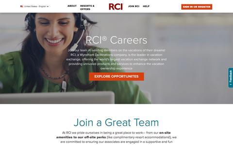 Screenshot of Jobs Page rci.com - Careers at RCI   RCI.com - captured Sept. 21, 2018