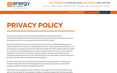 Screenshot of Privacy Page energy-alliance.co.uk - Energy AlliancePrivacy Policy - Energy Alliance - captured May 19, 2017