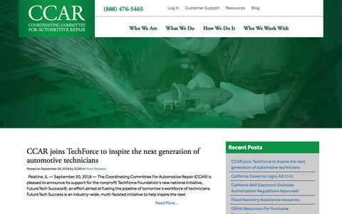 Screenshot of Blog ccar-greenlink.org - Blog - CCAR - captured Sept. 25, 2018