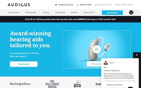 Screenshot of audicus.com - Homepage | Audicus - captured July 27, 2019