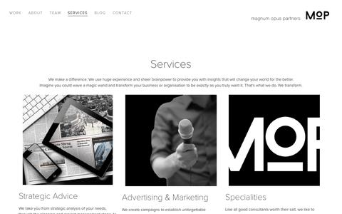 Screenshot of Services Page mo.partners - Services — MOP - captured Nov. 19, 2016