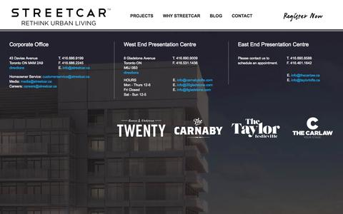 Screenshot of Contact Page streetcar.ca - Contact Us for Lofts and Condos in Toronto | Streetcar - captured Nov. 2, 2014