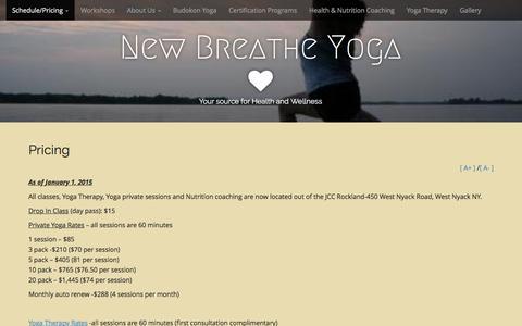 Screenshot of Pricing Page newbreatheyoga.com - Pricing | New Breathe Yoga - captured Feb. 14, 2016