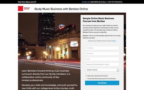 Screenshot of Landing Page berklee.edu - Study Music Business with Berklee Online - captured April 11, 2016
