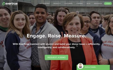 Screenshot of Home Page evertrue.com - EverTrue – Connect with alumni and build your donor base - captured April 18, 2017