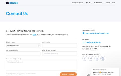 Screenshot of Privacy Page Contact Page topresume.com - Operator says… - captured Jan. 19, 2019