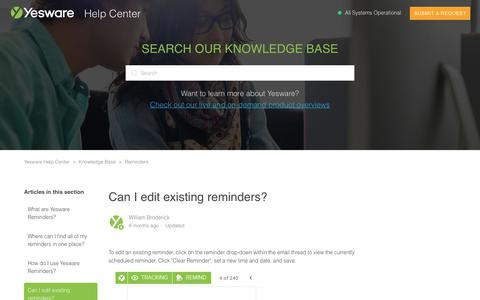 Screenshot of Support Page yesware.com - Can I edit existing reminders? – Yesware Help Center - captured July 12, 2019