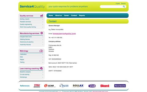Screenshot of Contact Page service4quality.com - Quality 4 Service - Contact - captured Sept. 30, 2014