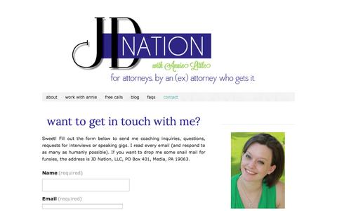 Screenshot of Contact Page thejdnation.com - contact annie little |  JD Nation - captured Oct. 3, 2014