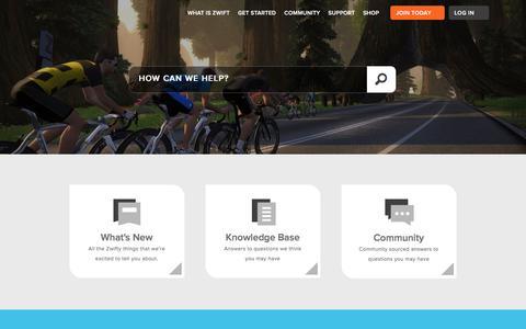 Screenshot of Support Page zwift.com - Zwift Support Hub - captured Dec. 19, 2016