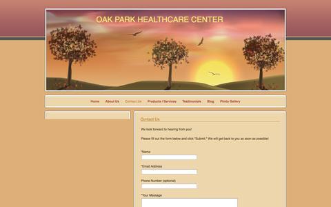 Screenshot of Contact Page webs.com - Contact Us - OAK PARK HEALTHCARE CENTER - captured Oct. 27, 2014