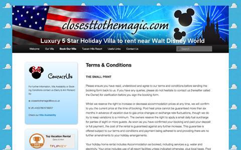 Screenshot of Terms Page closesttothemagic.com - Terms & Conditions - Closest To The MagicClosest To The Magic - captured Oct. 2, 2014