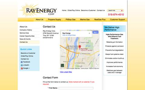 Screenshot of Contact Page rayenergy.com - Support and Contact Form for PitStop Gas and Captain's Choice Marine Gas | Ray Energy Corp. - captured Oct. 26, 2014
