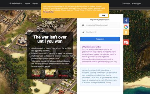 Screenshot of Login Page gamigo.com - Desert Operations - Het Gratis Orloog Browsergame - captured Sept. 24, 2018