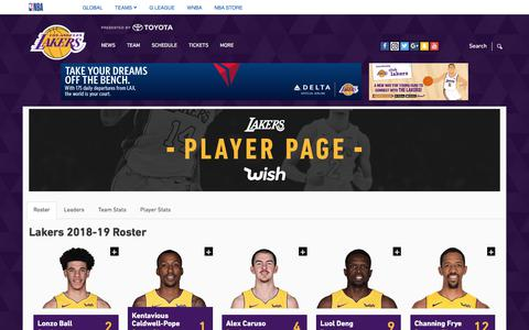 Screenshot of Team Page nba.com - Los Angeles Lakers Roster - captured July 5, 2018
