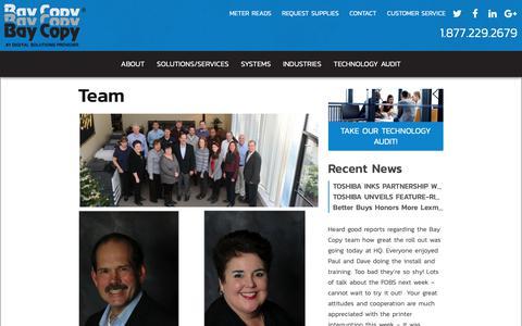 Screenshot of Team Page baycopy.com - Team | Bay Copy - captured Oct. 5, 2018