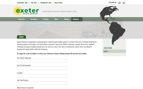 Screenshot of Jobs Page exeterresource.com - Exeter Resource - Advancing the world-class Caspiche project in Chile - captured Oct. 3, 2014
