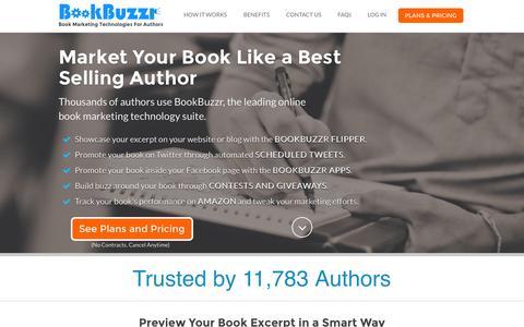 Screenshot of Home Page bookbuzzr.com - BookBuzzr - Online Book Marketing Technology for Authors - captured Aug. 28, 2015