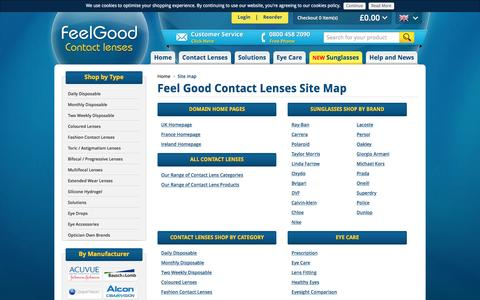Screenshot of Site Map Page feelgoodcontacts.com - Site Map | FeelGoodContacts.com - captured Oct. 8, 2016