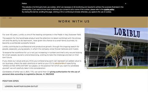 Screenshot of Jobs Page loriblu.com - Loriblu.com - captured July 16, 2016