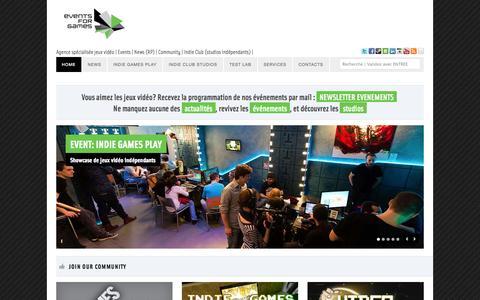 Screenshot of Home Page eventsforgames.com - Events for Games - Videogames agency & indie studios - captured Sept. 23, 2014