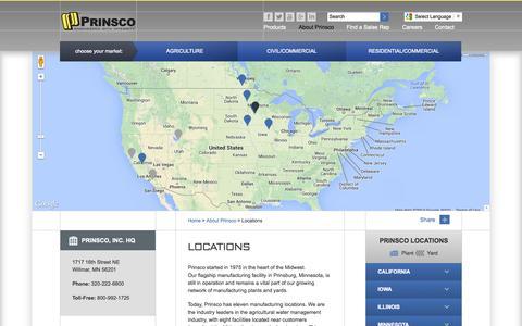 Screenshot of Locations Page prinsco.com - Locations «  Prinsco, Inc - captured Oct. 2, 2014