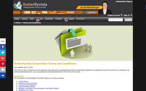 Screenshot of Terms Page butterflyvista.com - Butterflyvista Corporation | Jobfish | Career Coaching | Ask Sarah | Career Coach | Excellence in software engineering - captured Feb. 8, 2016