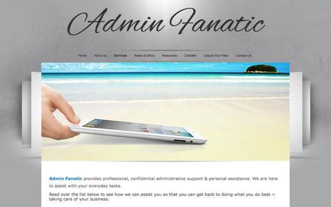 Screenshot of Services Page adminfanatic.com - Admin Fanatic - captured Sept. 30, 2014