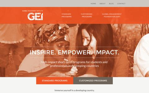 Screenshot of Home Page global-engagement.org - Global Engagement Institute | Progams for Students and Professionals in Developing Countries - captured Jan. 23, 2015