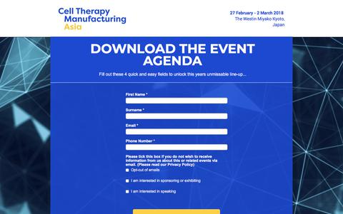Screenshot of Landing Page knect365.com - Cell Therapy Asia Event Brochure - captured March 4, 2018