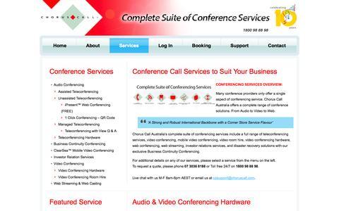 Screenshot of Services Page choruscallaustralia.com.au - Teleconferencing Service Australia | Video Conferencing Providers | Audio Conference Solutions | Video Conferencing Hardware – Sydney, Brisbane, Perth, Melbourne, Adelaide - captured Sept. 29, 2014