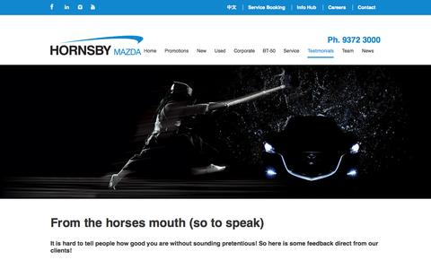 Screenshot of Testimonials Page hornsbymazda.com.au - From the horses mouth (so to speak) - Hornsby Mazda - captured Sept. 30, 2014