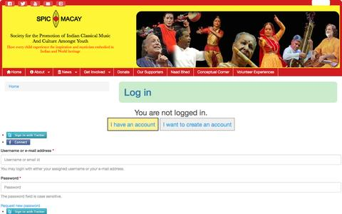 Screenshot of Login Page spicmacay.com - Log in | SPIC MACAY - captured May 26, 2017