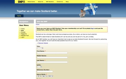 Screenshot of Signup Page snp.org - Join the SNP | SNP Members - captured Sept. 19, 2014